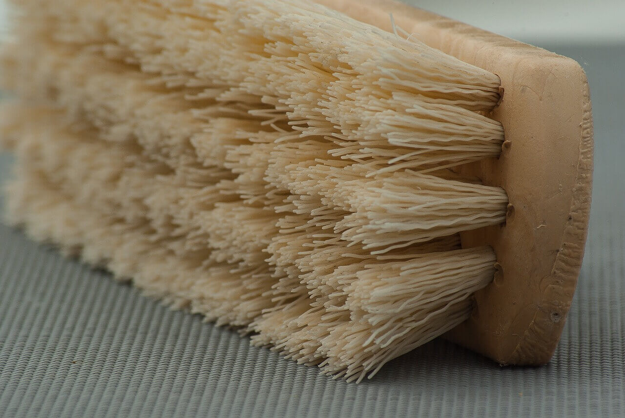 Cleaning brush on the floor